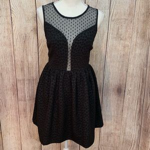 Women's Sugarlips Polkadot Illusion Neckline Dress